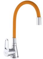 Смеситель для кухни ZERIX SOP7 045 с оранжевым гибким изливом кран из силуминового сплава металлов поворотный