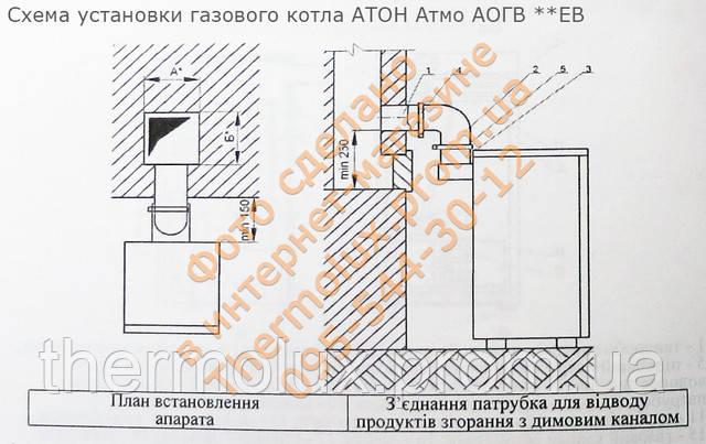 Схема установки газового котла АТОН Атмо АОГВ 12 кВт