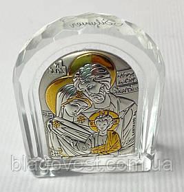 Икона в муранском стекле посеребренный лик 4х5 см