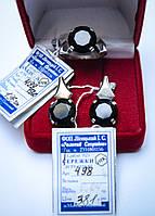 Серебряный набор серьги и кольцо с черным цирконом