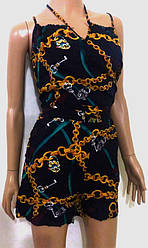 Комбинезон женский на тонкой бретеле, низ шорты, штапель, SAIMEIQ (размер L)