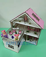 Деревянный кукольный домик для кукол Лол и других. Мебель 8 единиц в подарок!