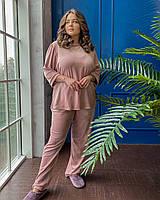 Стильный женский костюм из велюра батал с 50 по 68 размер