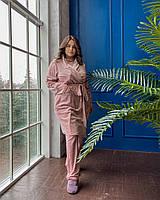 Домашний женский велюровый костюм тройка с 50 по 68 размер