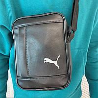 Мужская черная сумка через плечо Puma Пума кожаная барсетка удобный мессенджер стильная планшетка видео обзор