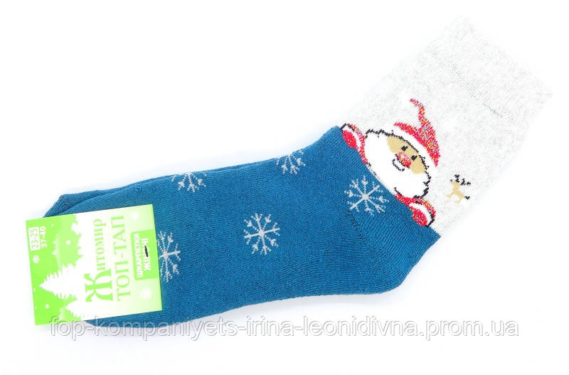Шкарпетки жіночі ТОП-ТАП Санта з оленем плюшеві теплі класичні бірюзовий 23-25р 37-40 (Ж-107)