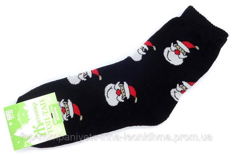 Шкарпетки жіночі ТОП-ТАП Санта Клаус плюшеві теплі класичні чорний 23-25р 37-40 (Ж-107)
