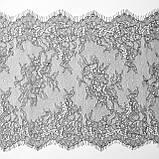 Ажурне французьке мереживо шантильї (з віями) сірого кольору шириною 23 см, довжина купона 3.0 м., фото 6