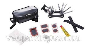 Велосумка на раму, під смартфон, із інструмент. (мультит, лопатки, латки, клей) KL-9812C