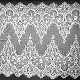 Ажурное французское кружево шантильи (с ресничками) белого цвета шириной 62 см, длина купона 3,0 м., фото 3