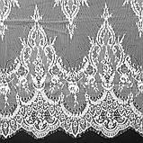 Ажурное французское кружево шантильи (с ресничками) белого цвета шириной 62 см, длина купона 3,0 м., фото 2