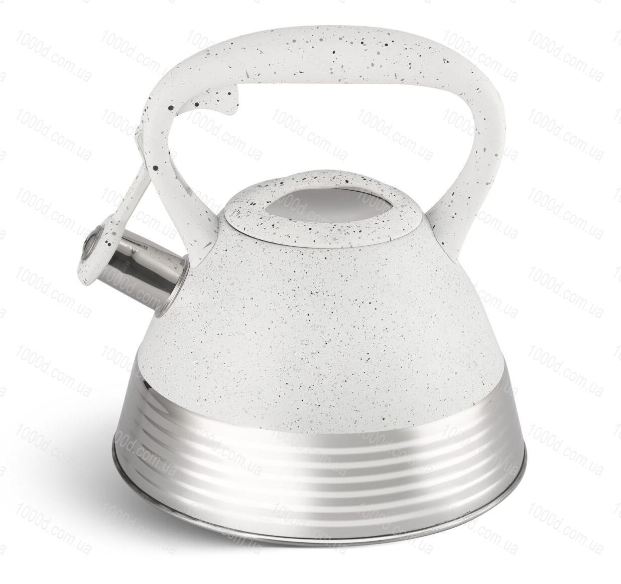 Чайник з нержавіючої сталі зі свистком Edenberg 3.0 л Білий (EB-8827W)