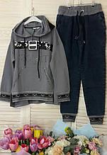 Спортивний костюм жіночий *Печатка* з капюшоном ,(Туреччина); розмір С,М,Л,ХЛ
