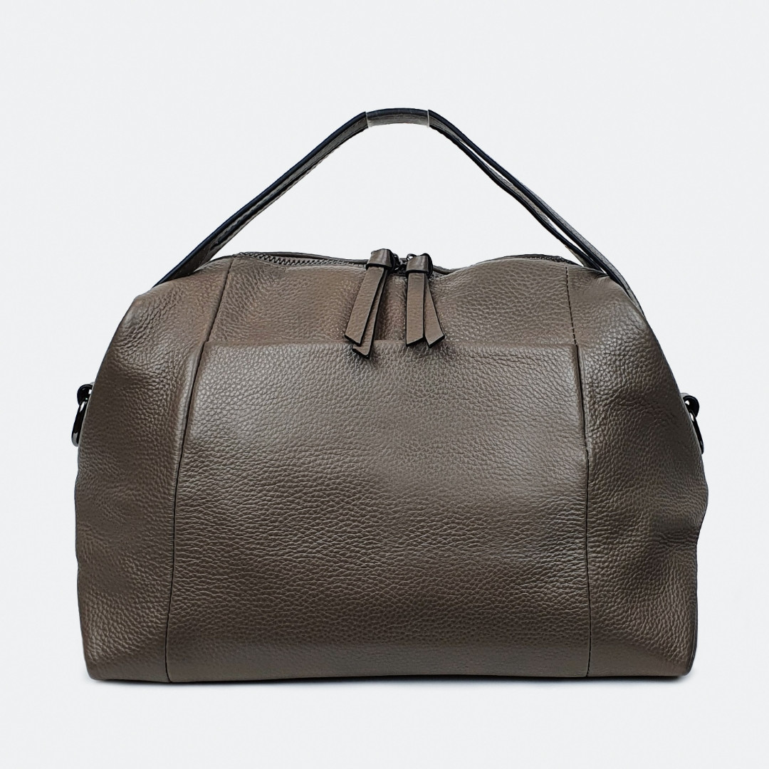 Стильна сумка уікендер бежева шкіряна 9042