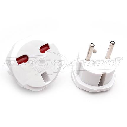 Электрический сетевой переходник 6A UK to EU, белый, фото 2