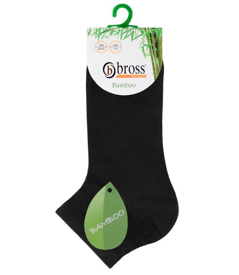 Шкарпетки дитячі укорочені бамбукові Bross однотонні чорні