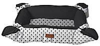 Лежак-подстилка для животного COZY IMPACT, овальный, черно-белый в горох, 45x35,5x15см