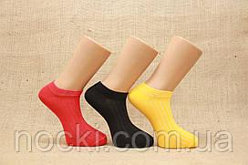 Мужские носки короткие с хлопка в рубчик КЛ   цветные в рубчик