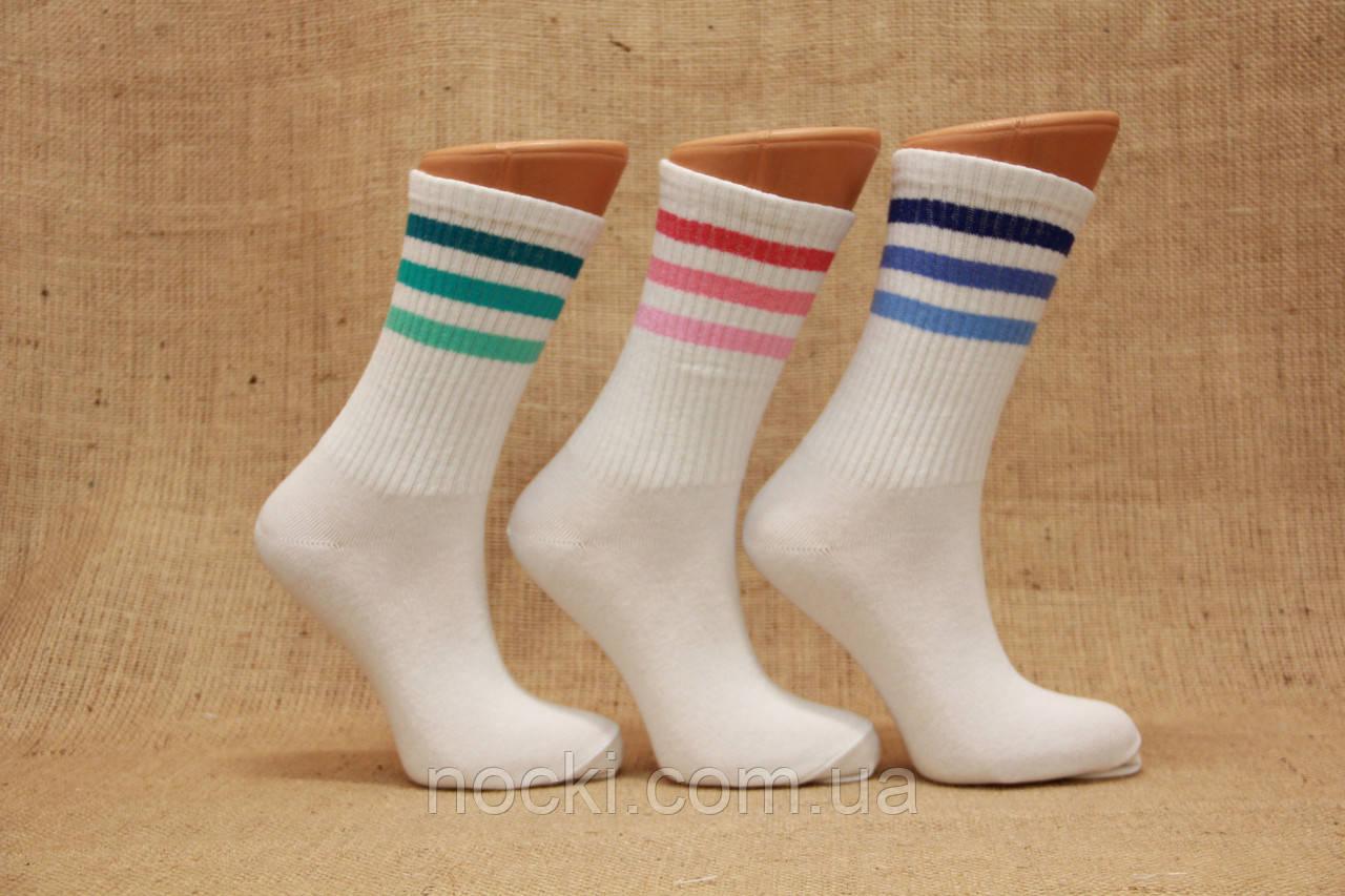 Женские носки высокие ТЕННИС НЛ с надписями 21-22 см 36-40  три полоски
