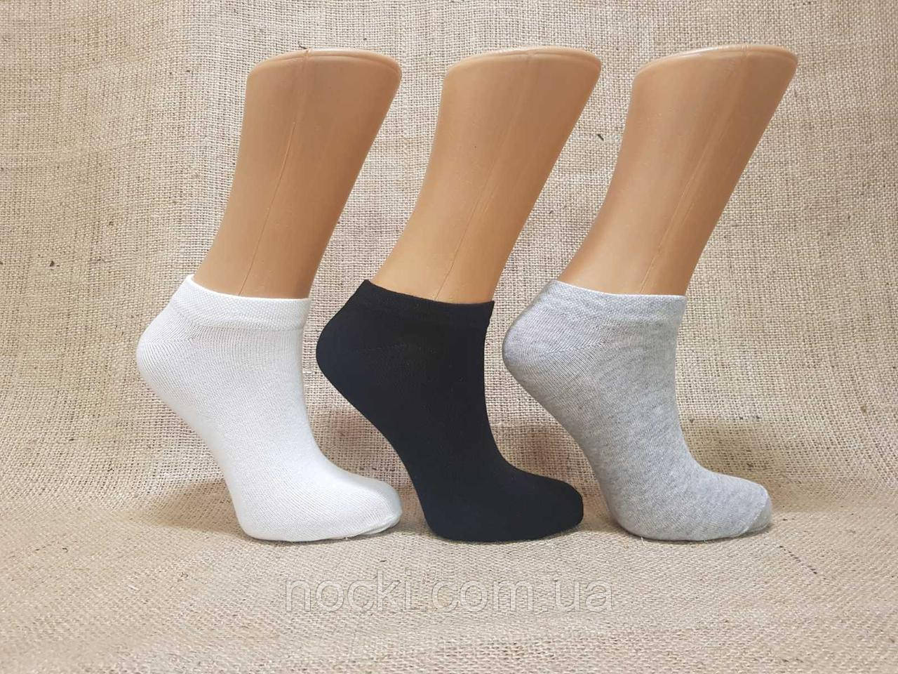 Женские носки короткие с хлопка SL КЛ 36-40 ассорти белый,меланж серый,черный