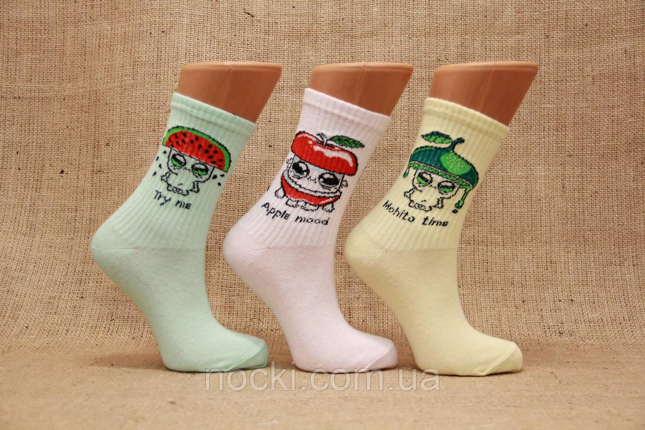 Женские носки средние ТЕННИС НЛ с надписями 18-19 см 36-40 ассорти MOHITO.яблоко,арбузик