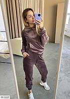Велюровый женский спортивный костюм кофта с капюшоном и штаны мягкий и удобный р-ры 42-46 арт.  0382