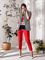 Женский брючный костюм тройка футболка брюки пиджак до 58 размера