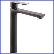 Смеситель на раковину чашу высокий на столешницу ЧЕРНЫЙ для умывальника латунный Haiba Alex 001 High Black