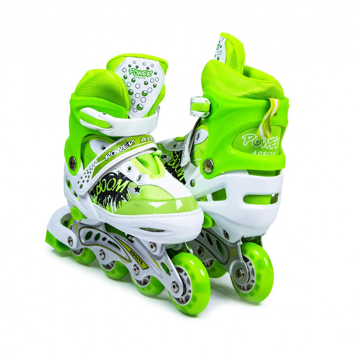 Детские ролики Boom Power зеленые размер 34-37
