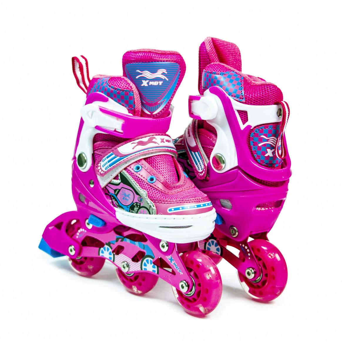 """Детские ролики со светящими колесами \""""3-wheels\"""" Розовые размер 27-30"""
