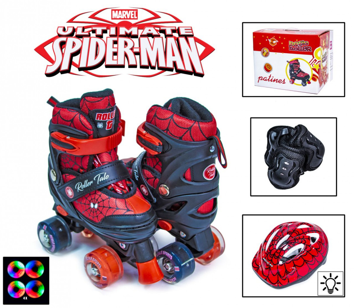 Комплект ролики-квады Disney с защитой и светящими колесами Spiderman размер 34-38