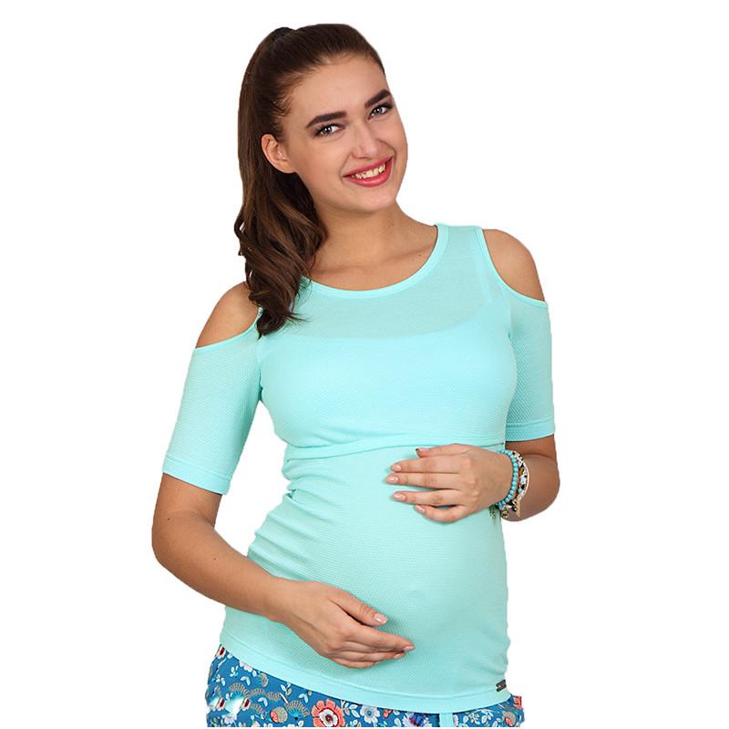 Футболка для вагітних і годуючих Liama ЮЛА МАМА (м'ятна, розмір S)
