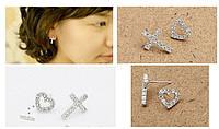 Серьги Сердце и крест/бижутерия/цвет серебро