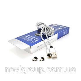 Магнітний кабель PiPo USB 2.0 / Micro / Lighting / Type-C, 2m, 2А, тканинна оплетка, броньований, знімач,