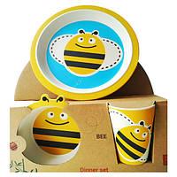 Детский набор посуды Fissman Пчелка FS-9494 3 предмета желтый