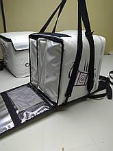 Термосумка - рюкзак ПВХ для доставки еды и пиццы. Малая 34*34. Горизонт.- вертикальная загрузка