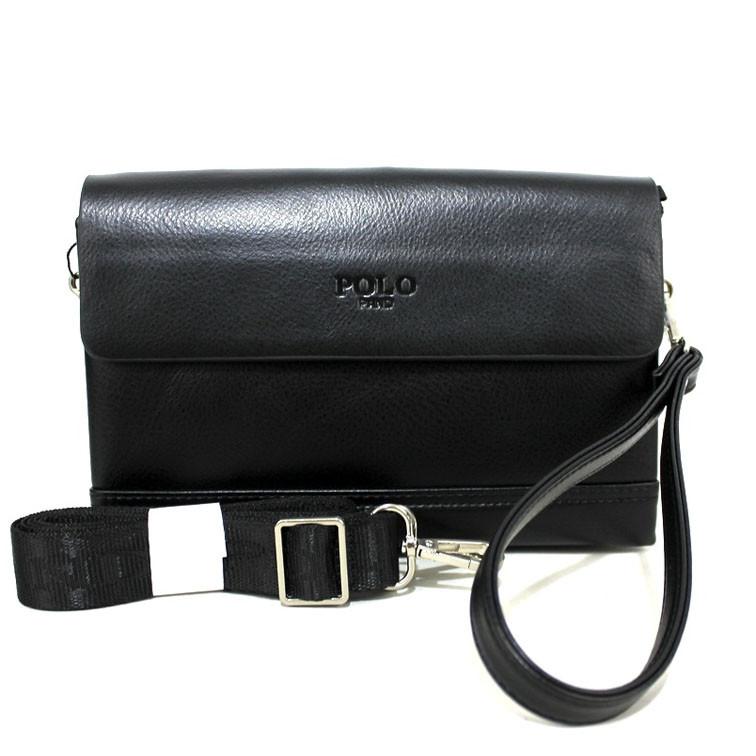 Зручна компактна сумка-клатч з ременем через плече для чоловіків з екошкіри чорного кольору Розміри: 15х22х5