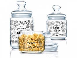 Набор банок для сыпучих продуктов Luminarc Club Love Pasta P6675 3 предмета