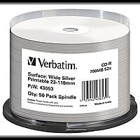 Диски verbatim cd-r 700mb 52x cake 50 штук printable silver 43653 (43653)