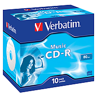 Диски verbatim cd-r 700mb audio live it jewel 10 штук 43365 (43365)