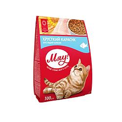 Корм Meow повнораціонний хрусткий карасик для дорослих котів 300 г