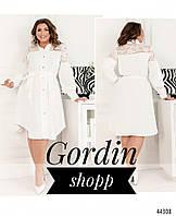 Летнее женское платье-рубашка большого размера белого цвета с гипюром 8633-1