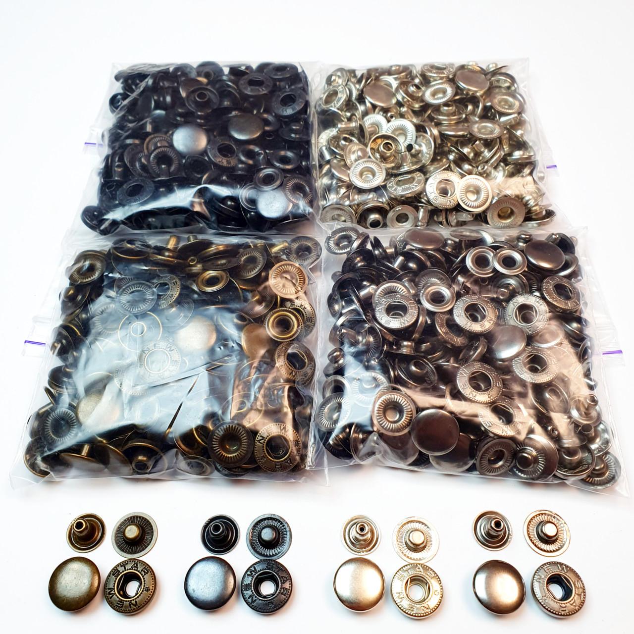 Швейная фурнитура кнопки для одежды Alfa 15мм (Турция). Кнопки для курток  (4 цвета по 50шт)