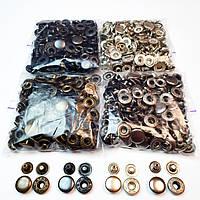 Швейна фурнітура кнопки для одягу Alfa 15мм (Туреччина). Кнопки для курток (4 кольори по 50шт)
