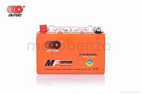 """Аккумулятор мото 12V 9A  GEL  150-90-105mm  UTX9-BS  """"OUTDO""""  (2021)"""