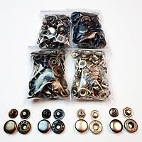 Швейна фурнітура кнопки для одягу Alfa 15мм (Туреччина). Кнопки для курток (4 кольори по 25шт)