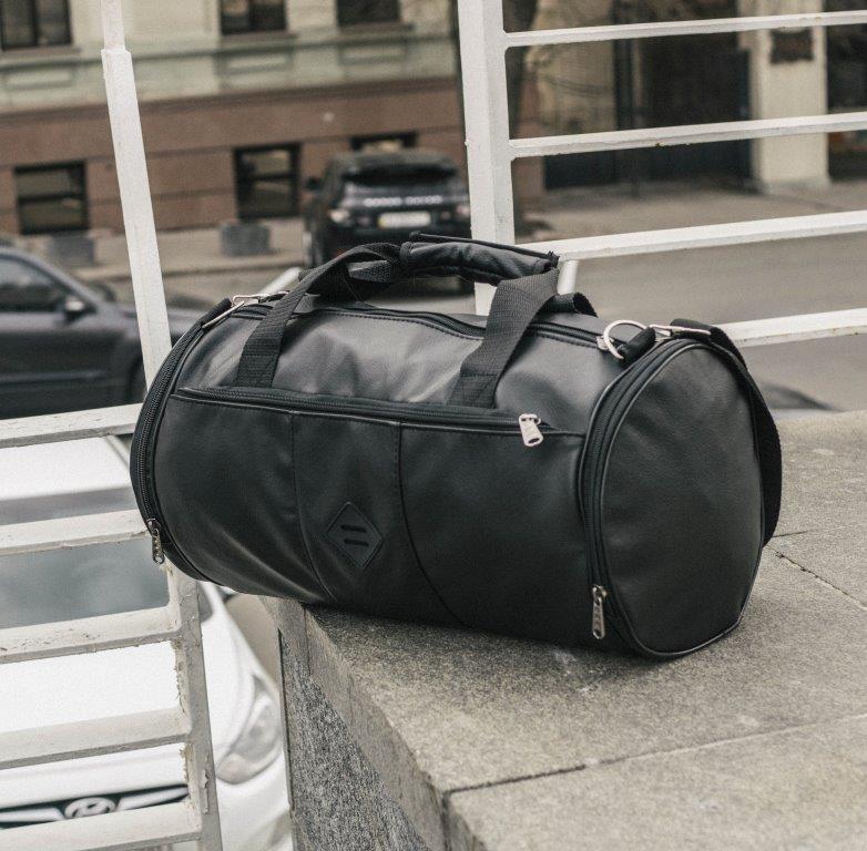 Мужская кожаная сумка бочка mod.ROMB из экокожи