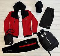 Спортивный костюм мужской Under Armour черный-красный весенний осенний летний Комплект Кофта + Штаны Андер