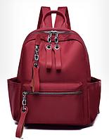 Рюкзак нейлон червоний з ланцюгами, фото 1