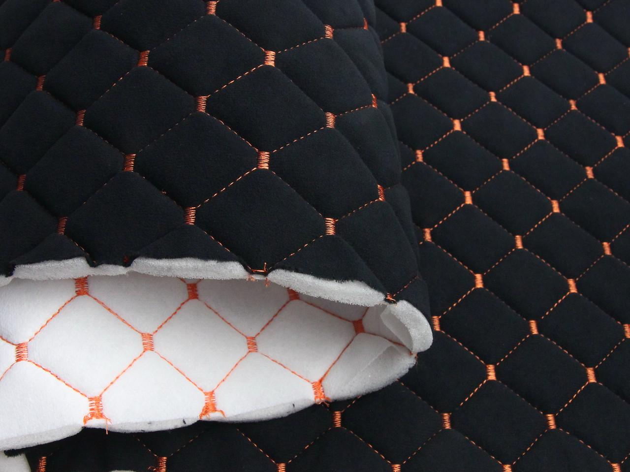 Велюр стёганый черный «Ромб» (прошитый оранжевой нитью) поролоном и флизелином шир 1,40м